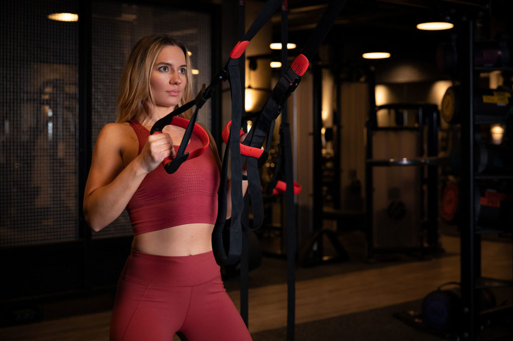 Personal Trainer Dovile Leonaviciute poses for her personal branding shoot at Rise Gym, Welwyn Garden City