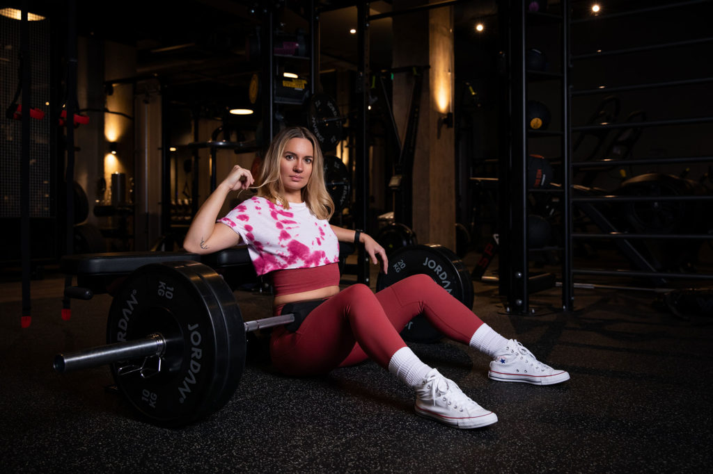 Hertfordshire PT Dovile Leonaviciute poses for her personal branding photography session at Rise Gym, Welwyn Garden City
